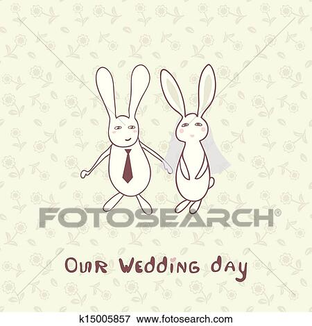 bridal shower invitation with two cute rabbits in bride and groom costumes