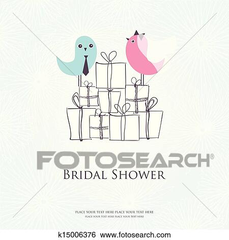 bridal shower invitation with two cute birds in bride and groom costumes sitting on the present boxes