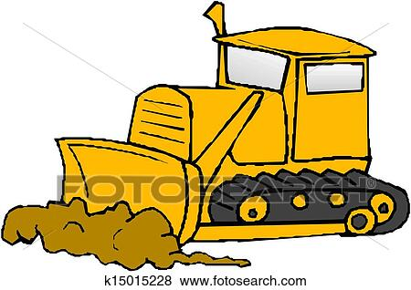 clip art of bulldozer vector k15015228 search clipart rh fotosearch com bulldozer clipart free outline bulldozer clipart free