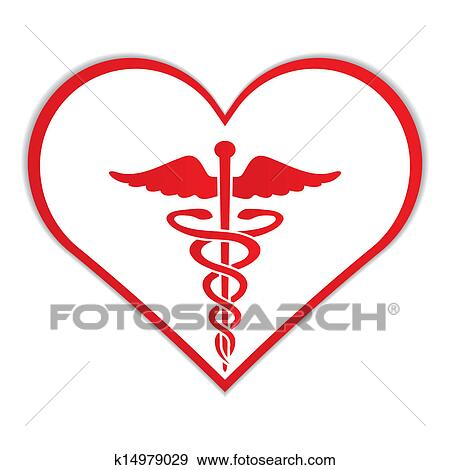clip art of caduceus in heart medical symbol k14979029 search rh fotosearch com veterinary medical symbol clipart caduceus medical symbol clipart
