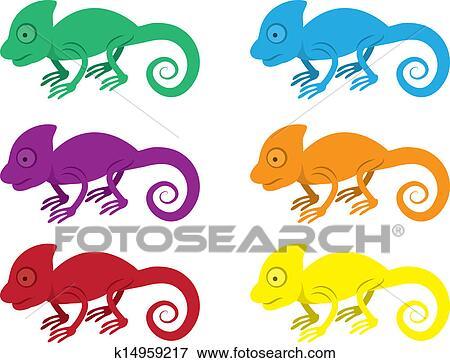 clipart camaleão cores k14959217 busca de clip art ilustrações