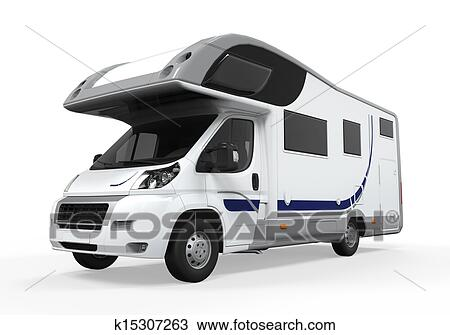 Camper Van Isolated On White Background 3D Render
