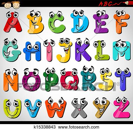 Clipart Of Capital Letters Alphabet Cartoon Illustration K15338843