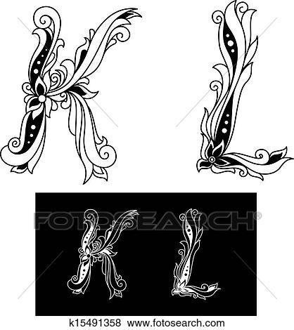 Clip Art Of Capital Letters K And L K15491358 Search Clipart