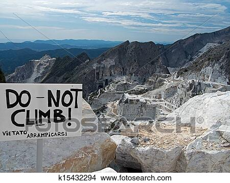 Carrara marble quarries view and sign Picture