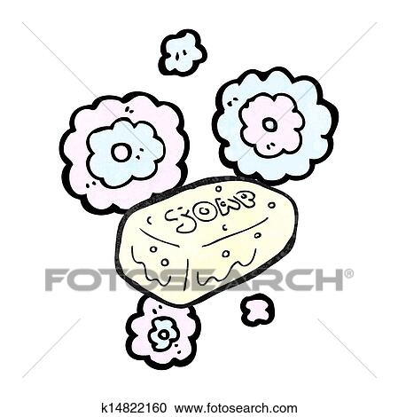 clipart of cartoon bar of soap k14822160 search clip art rh fotosearch com Wrapped Bar of Soap Clip Art Blue Bar of Soap Clip Art