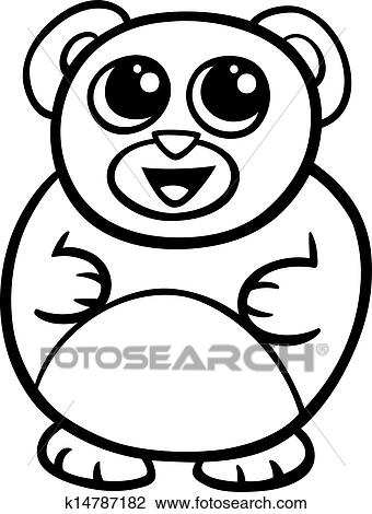 Clipart Of Cartoon Kawaii Bear Coloring Page K14787182 Search Clip