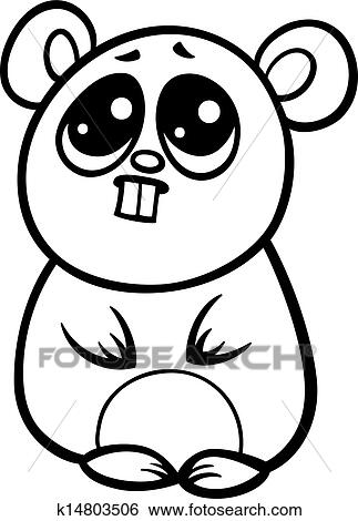 Clip Art Of Cartoon Kawaii Hamster Coloring Page K14803506 Search