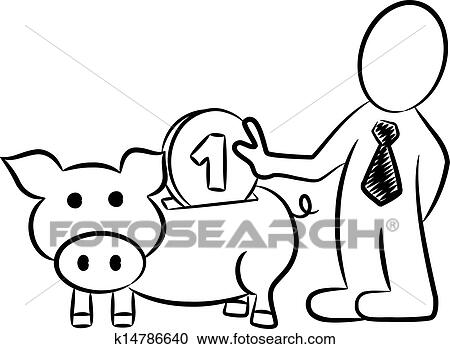 Cartoon Of A Businessman Who Put Money Into A Piggy Bank Clipart