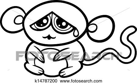 Cartoon Sad Monkey Coloring Page Clipart K14787200 Fotosearch