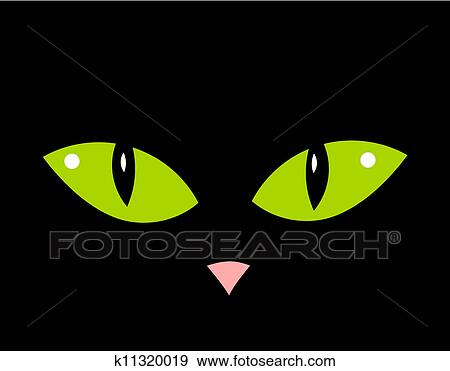 Clip Art Of Cat Eyes K11320019 Search Clipart Illustration