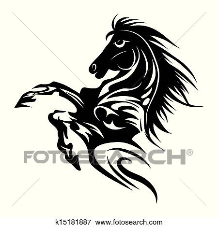 Clipart cheval tatouage symbole pour conception isol blanc embl me ou logo template - Clipart cheval ...