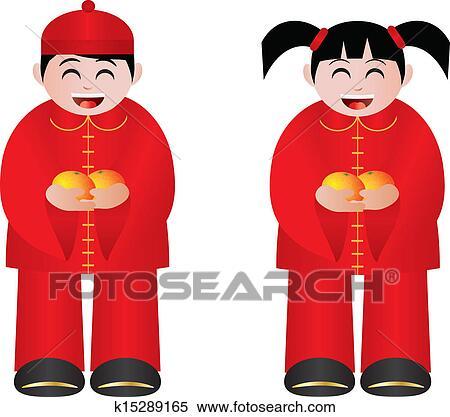 Clipart - chinesischer, junge mädchen, mit, mandarinen k15289165 ...