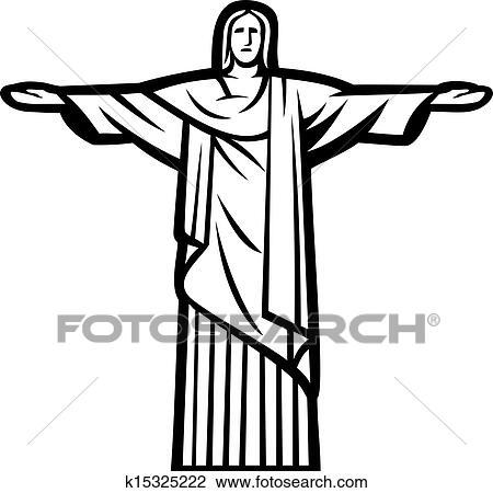 Dessin Christ Redempteur clipart - christ rédempteur, statue k15325222 - recherchez des clip