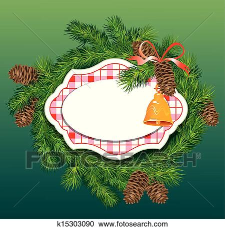 christmas and new year background fir tree branches pine cones and accessories frame