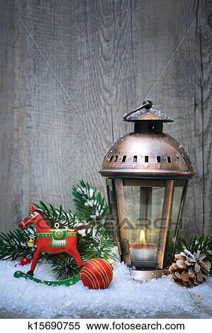 Christmas Lantern.Christmas Lantern In The Snow Paruosta Fotografija