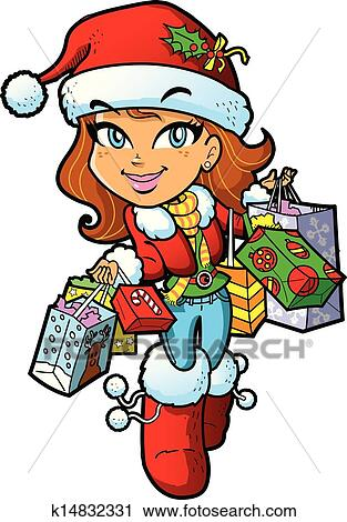 clipart of christmas shopping girl k14832331 search clip art rh fotosearch com christmas shopping clipart images christmas shopping girl clipart