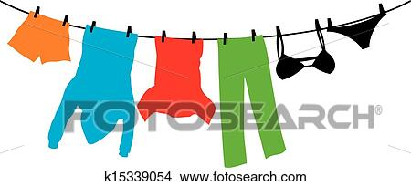 Clipart Of Clothes Hanging On A Clothesline K15339054 Search Clip