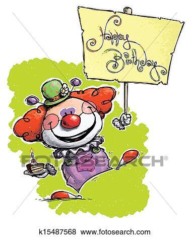 Clipart Clown Tenue A Joyeux Anniversaire Affiche K15487568