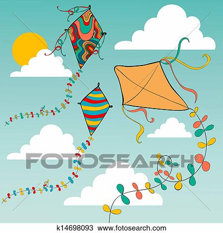 Clipart Of Colorful Flying Kites K14698093 Search Clip Art