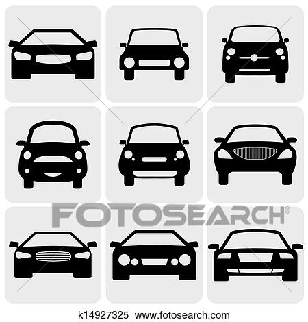Clipart Of Compact And Luxury Passenger Car Iconssigns Front View