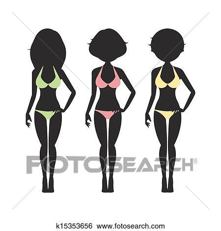 Clip Art - costume da bagno, silhouette, donne, in, bikini k15353656 ...