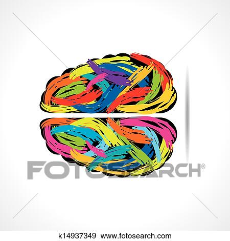 Clip Art Of Creative Brain With Paint Strokes K14937349