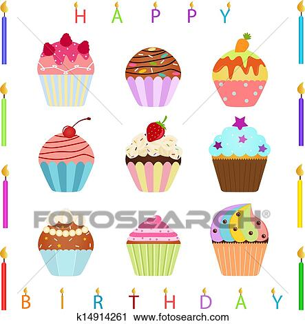 Clipart Of Cupcake With Happy Birthday Candles K14914261