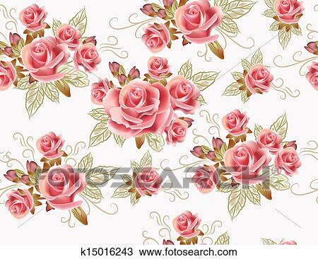Drawing Of Cute Seamless Wallpaper Design With Rose Flowers