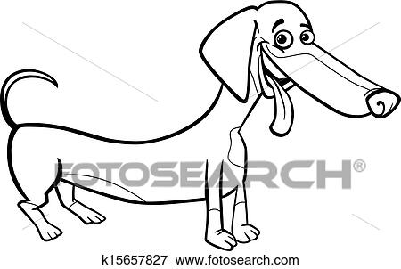 Dachshund Dog Cartoon For Coloring Book Clip Art