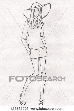 Stock Illustration - dass, bleistift, skizze, von, mannequin, in, a ...