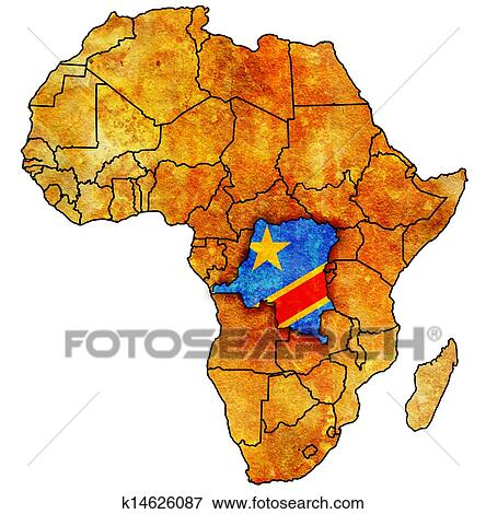 Congo On Africa Map.Picture Of Democratic Republic Of Congo On Actual Map Of Africa