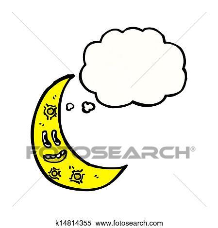 Dessin Anime Croissant De Lune Clipart K14814355 Fotosearch