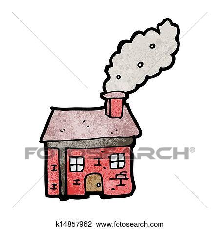 Clipart Dessin Anime Petite Maison A Cheminee Fumant K14857962