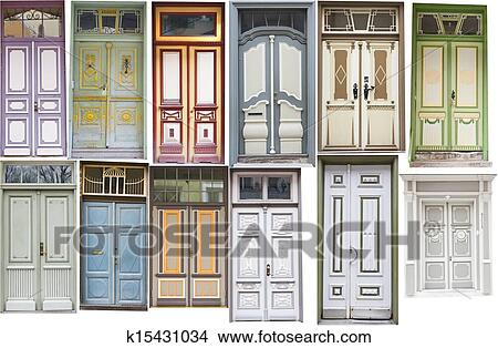 Stock Photo Diffe Old Style Doors Fotosearch Search Images Mural Photographs