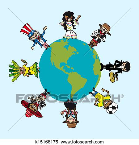 Clipart of diversity people cartoons over world map k15166175 clipart diversity people cartoons over world map fotosearch search clip art illustration gumiabroncs Images