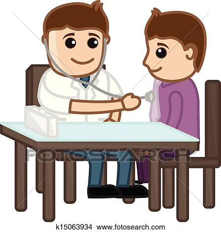Drawing Art Of Cartoon Doctor Checking Patient Vector Illustration