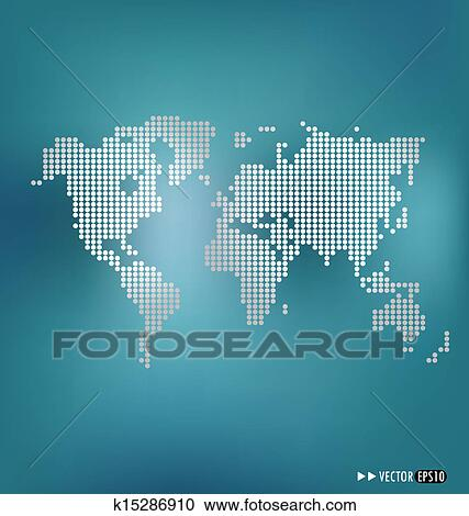 Dotted world map. Vector illustration. Clipart k15286910