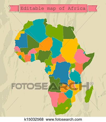 clip art of editable map of africa with all countries k15032568