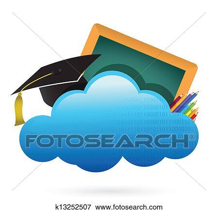clip art of education cloud computing concept k13252507 search rh fotosearch com Cloud Computing Benefits Cloud Computing Icon