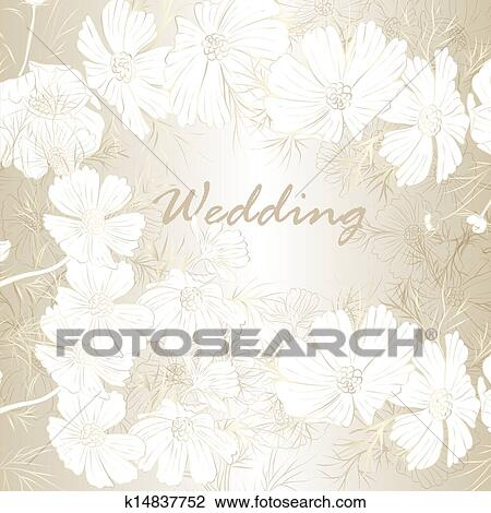 Elegant Wedding Background With Flowers For Design Drawing