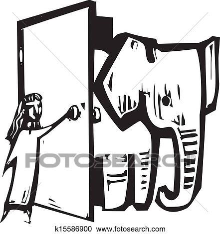 Clipart Of Elephant Door K15586900