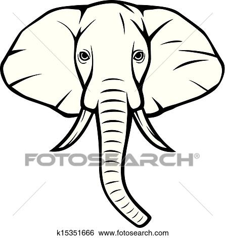 clip art of elephant head african elephant k15351666 search rh fotosearch com elephant head images clip art Elephant Clip Art Black and White