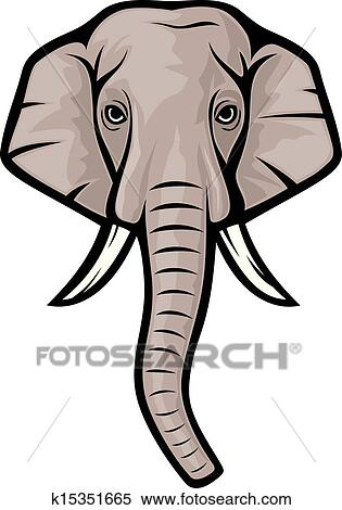 clipart of elephant head indian elephant k15351665 search clip rh fotosearch com Cute Elephant Clip Art elephant head clipart