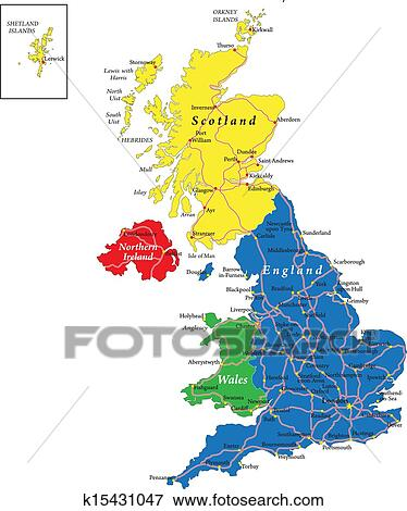 Map Of Uk And Ireland With Cities.England Scotland Wales Map Clip Art
