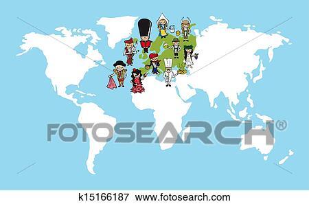 Clip Art Of Europe People Cartoons World Map Diversity Illustration