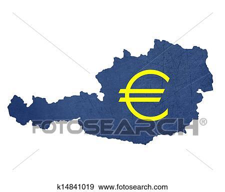 Arkiv Illustrasjon Europeisk Valuta Symbol På Kart Av