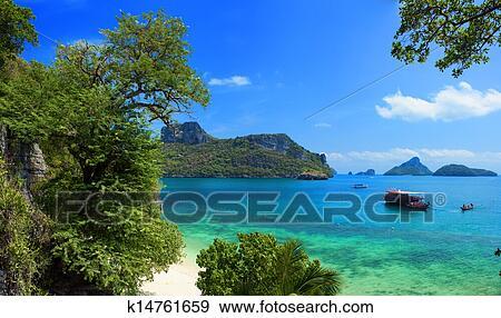 Exotique, Beau, Paysage, De, Thaïlande, Sea., Angthong, Parc Marin, Près,  Koh Samui, Island., Plage Tropicale, Et, Archipel, Vue Banque De Photo
