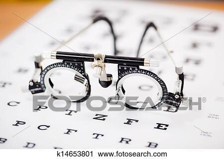 Stock Photography Of Eye Test Glasses On Snellen Chart K14653801