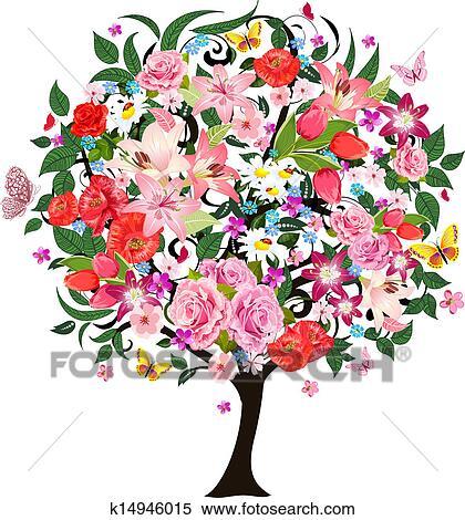 Fete Romantique Arbre Beau Fleurs Clipart K14946015